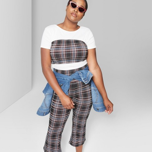 11f9cb0ca7a56 Women s Plus Size Plaid Knit Cropped Tube Top - Wild Fable™ Black 1X ...