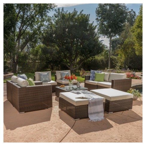 Santa Rosa 9pc All-Weather Wicker Patio Chat Set - Multi-Brown - Christopher Knight Home - image 1 of 4