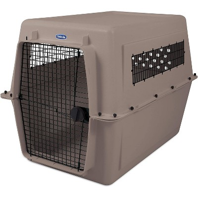 Petmate Ultra Vari 48 Inch Portable Plastic Hard Sided Travel Crate Carrier Kennel For Dogs, Cats, Rabbits, and Large Animals, Taupe