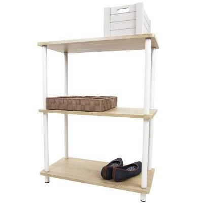 Home Basics Pine Wood 3 Tier Rectangular Corner Shelf, Natural