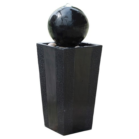 "33"" Sphere On Stand Fountain With White LED Lights - Black - Alpine Corporation - image 1 of 1"
