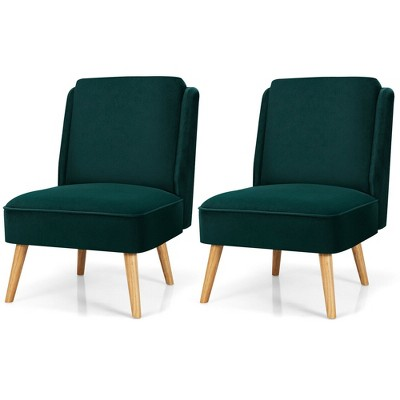 Costway 2PCS Velvet Accent Chair Single Sofa Chair Leisure Chair with Wood Frame