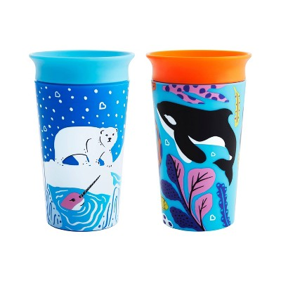 Munchkin Miracle 360° Wild Love Sippy Cup - 2pk/18oz Total Orca/Polar
