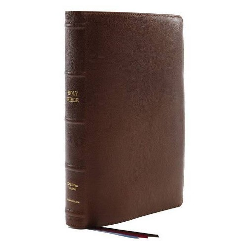 Kjv, Reference Bible, Center-Column Giant Print, Premium Goatskin Leather, Brown, Premier Collection, Comfort Print - Large Print by  Thomas Nelson - image 1 of 1
