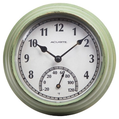 "8.5"" Outdoor / Indoor Wall Clock with Thermometer - Rustic Weathered Green Finish - Acurite"