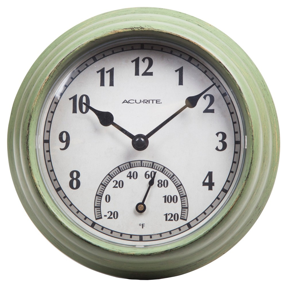 Image of 8.5 Outdoor / Indoor Wall Clock with Thermometer - Rustic Weathered Green Finish - Acurite