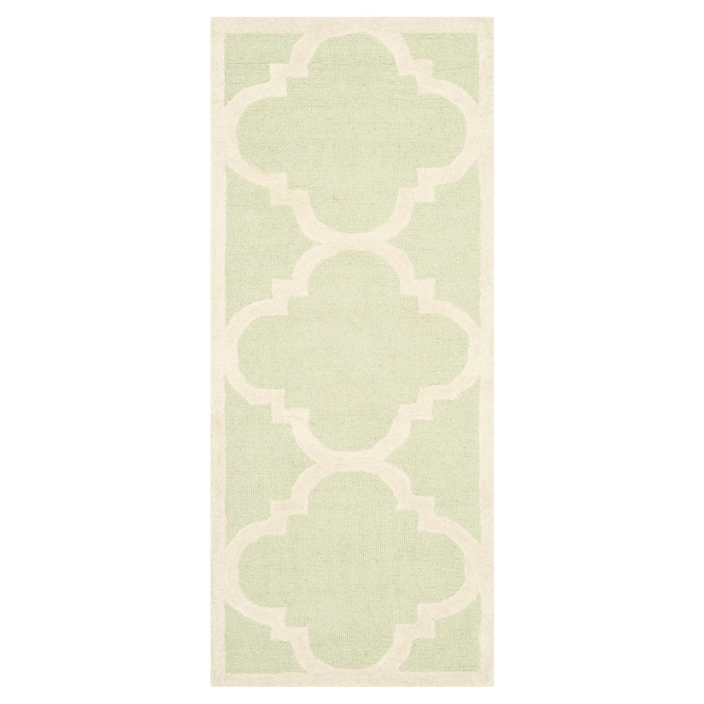Landon Texture Wool Rug - Light Green / Ivory (2'6 X 10') - Safavieh, Light Green/Ivory