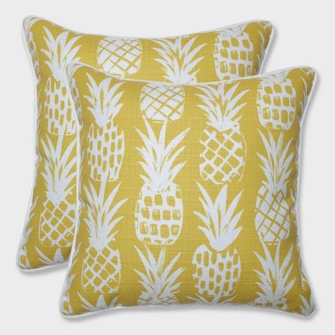 "16.5"" 2pk Pineapple Throw Pillows Yellow - Pillow Perfect - image 1 of 3"