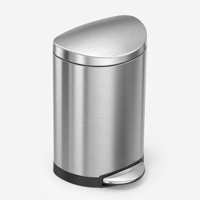 simplehuman 6L Stainless Steel Semi-Round Trash Can Brushed Silver