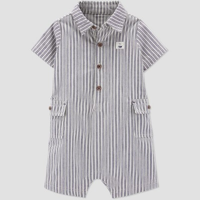 Baby Boys' Striped Canvas Romper - Just One You® made by carter's Navy Newborn