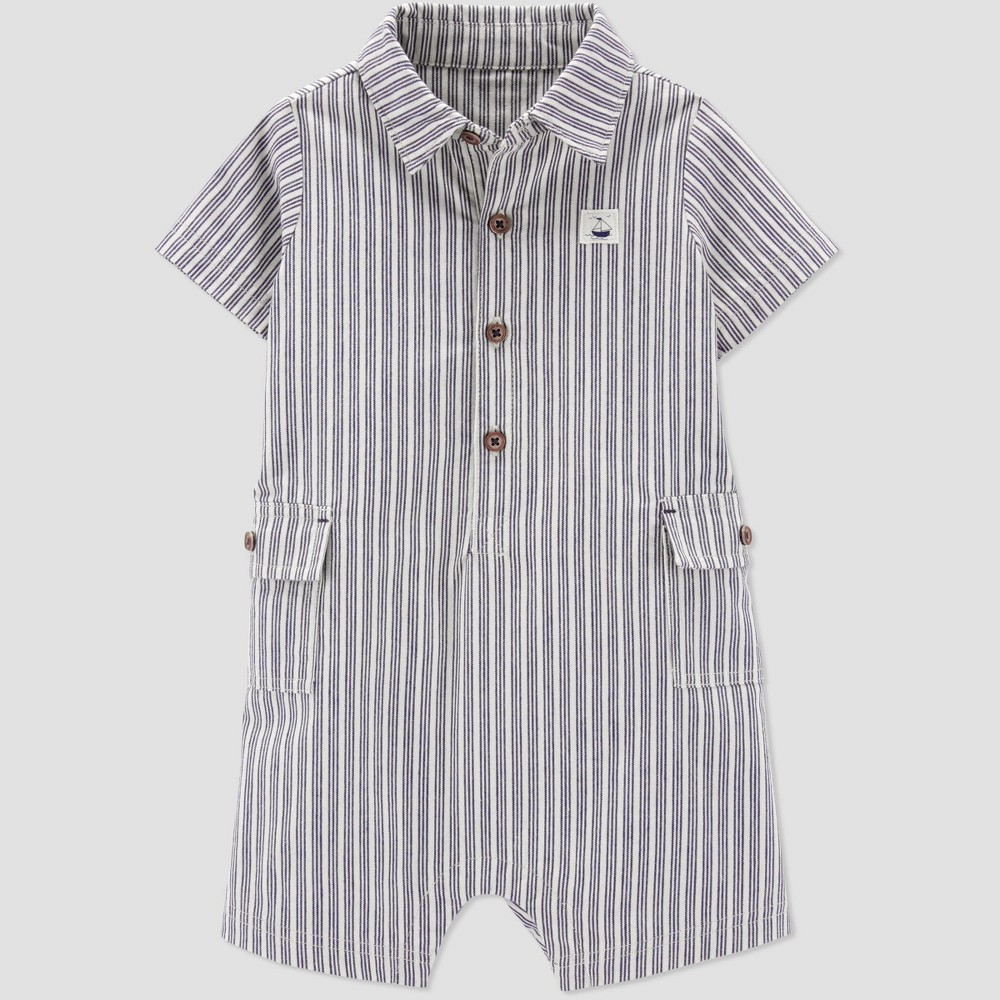 Baby Boys' Striped Canvas Romper - Just One You made by carter's Gray Newborn, Brown