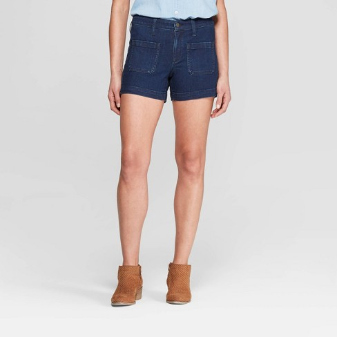 Women's High-Rise Patch Pocket Midi Jean Shorts - Universal Thread™ Dark Wash - image 1 of 3