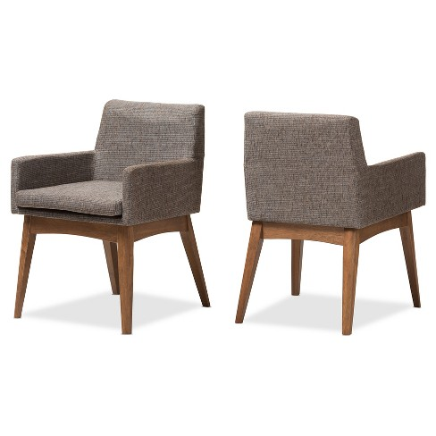 "Set of 2 Nexus Mid - Century Modern Wood Finishing and Fabric Upholstered Arm Chair - ""Gravel"" Multi Color, ""Walnut"" Brown - Baxton Studio - image 1 of 7"