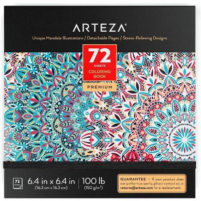 Arteza Coloring Book, Mandala Illustrations, for Kids or Adults - 72 Sheets