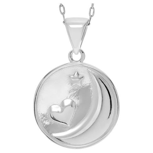 "Women's Journee Collection Moon and Heart Pendant Necklace in Sterling Silver - Silver (18"") - image 1 of 3"