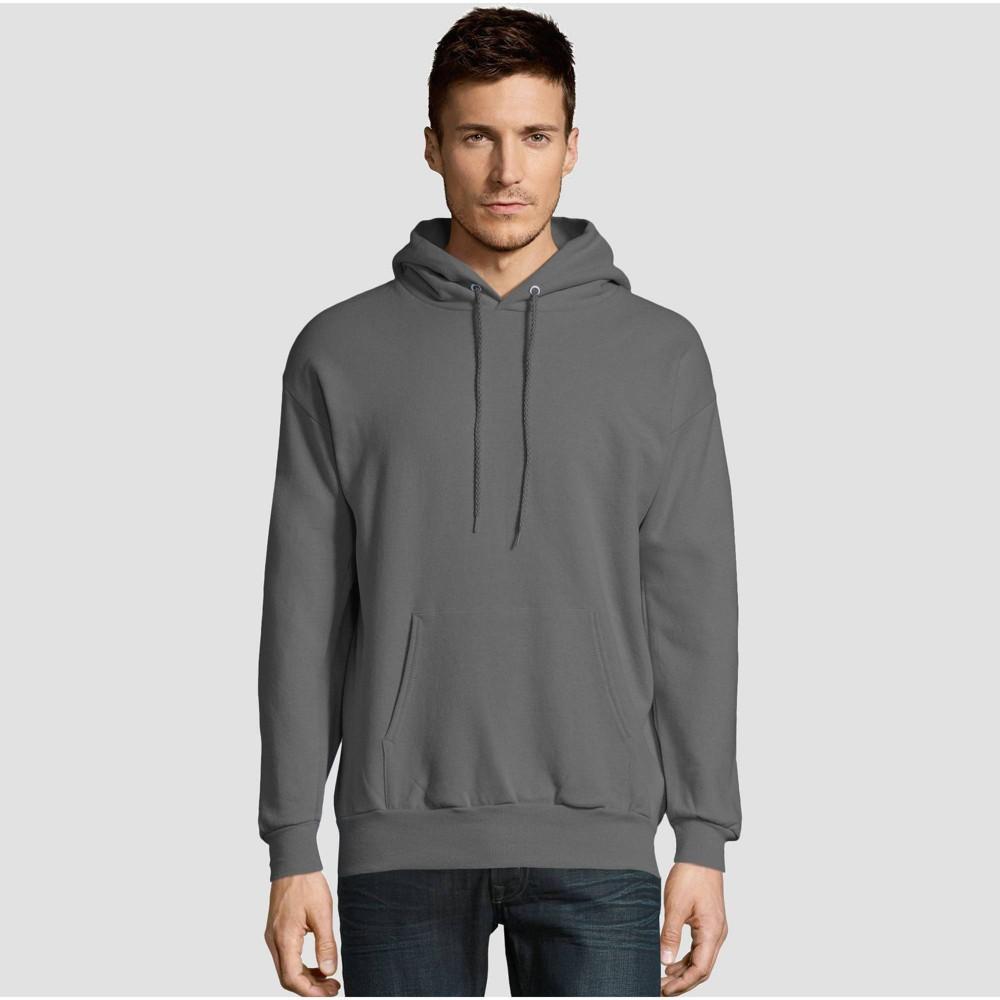 Hanes Men S Ecosmart Fleece Pullover Hooded Sweatshirt Smoke M