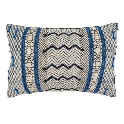 """16""""x24"""" Boho Rug Style Cotton Throw Pillow Cover Blue - SARO"""