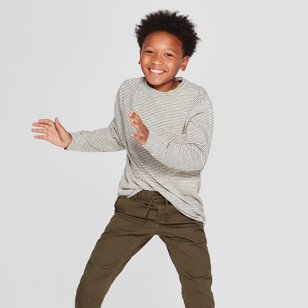 Boys' Long Sleeve Knit Pocket T-Shirt - art class Ivory S
