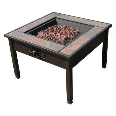30  Ceramic Tile Table Top LP Gas Fire pit - Square - leisurelife™