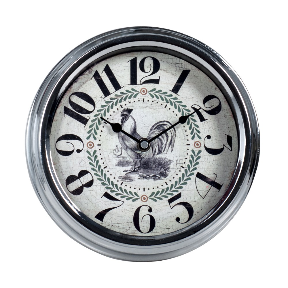 Image of 9.25 Round Wall Clock with Rooster Dial
