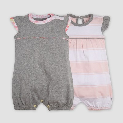 Burt's Bees Baby® Baby Girls' 2pk Organic Cotton Rugby Peace Stripe Bubble Romper Set - Heather Gray 3-6M