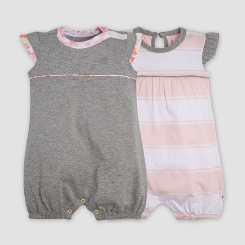 Burt s Bees Baby® Baby Girls  2pk Organic Cotton Rugby Peace Stripe Bubble Romper  Set - Heather Gray 9aa7f3d02e1a