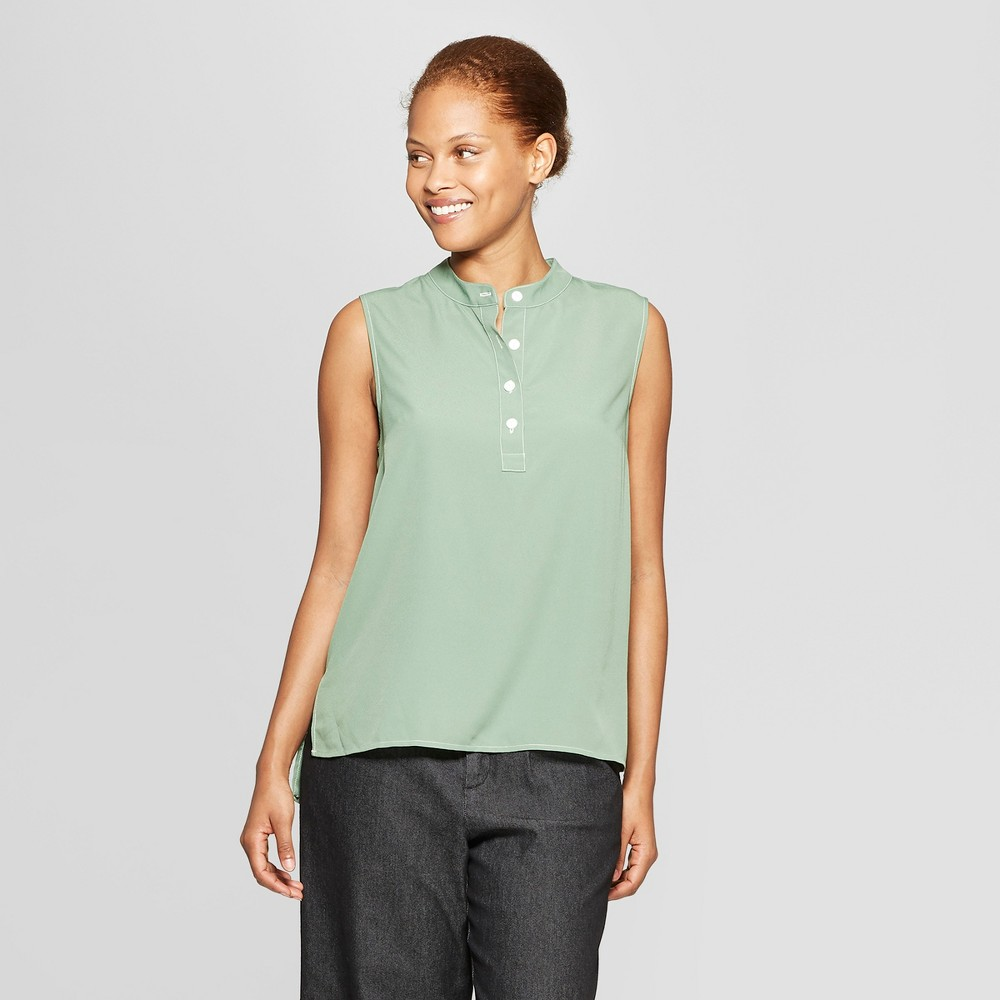 Women's Sleeveless Collared Button Front Blouse - Prologue Green L