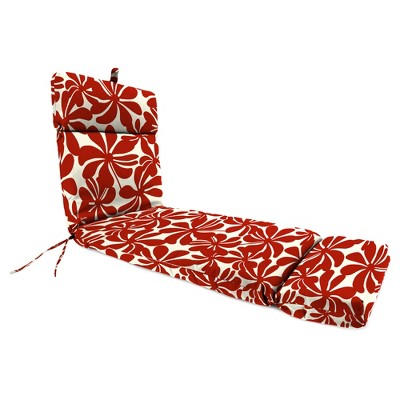 Outdoor French Edge Chaise Lounge Cushion In Twirly American Red - Jordan Manufacturing