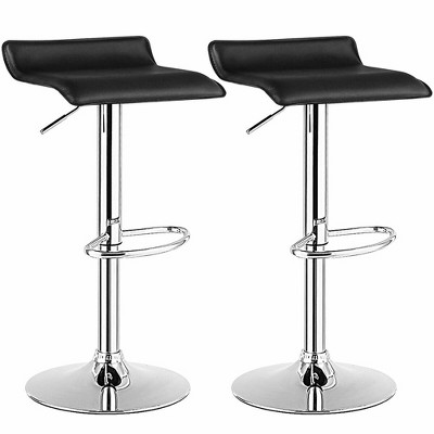 Costway Set of 2 Swivel Bar Stool PU Leather Adjustable Kitchen Counter Bar Chairs Black Low Back