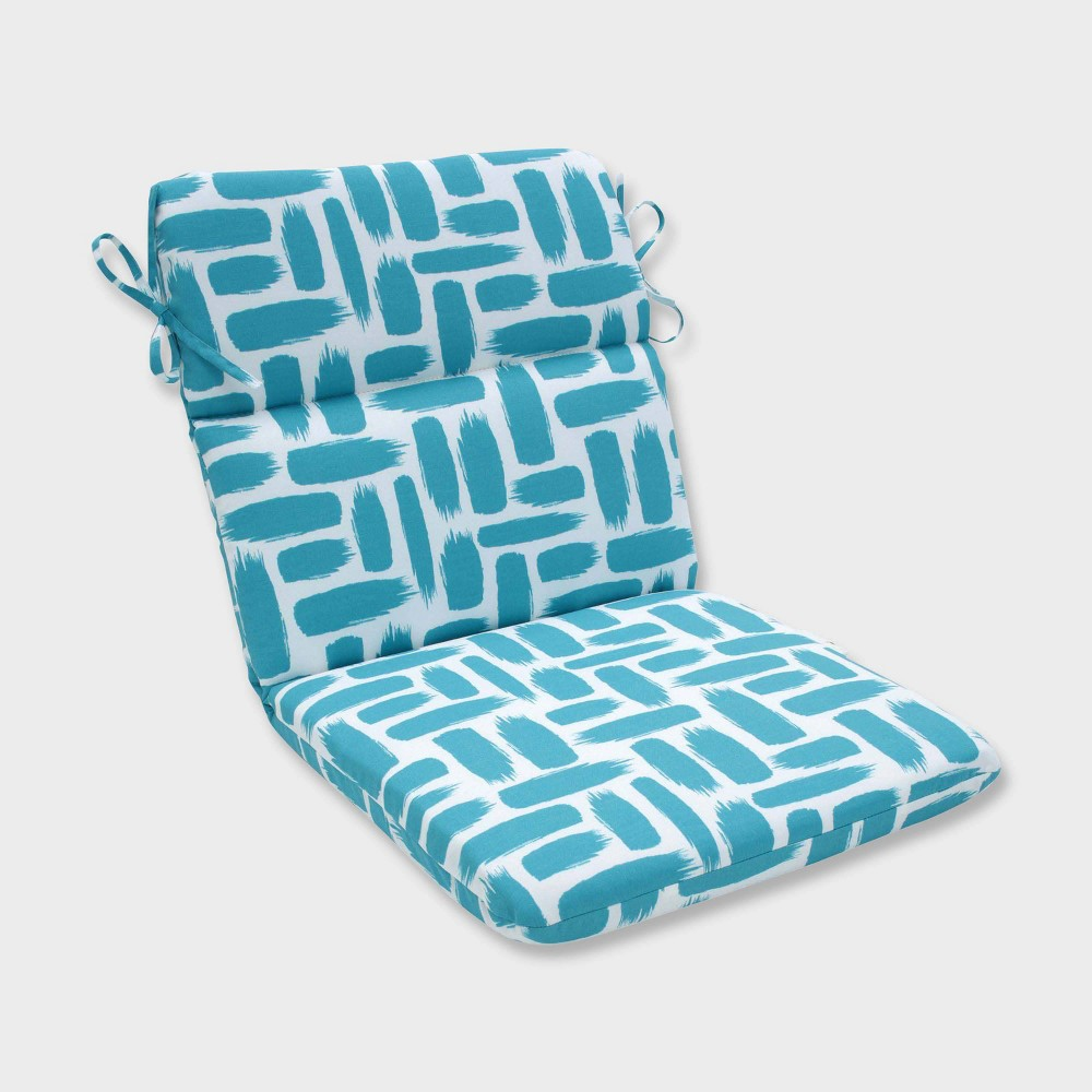 Baja Turquoise Rounded Corners Outdoor Chair Cushion Blue - Pillow Perfect