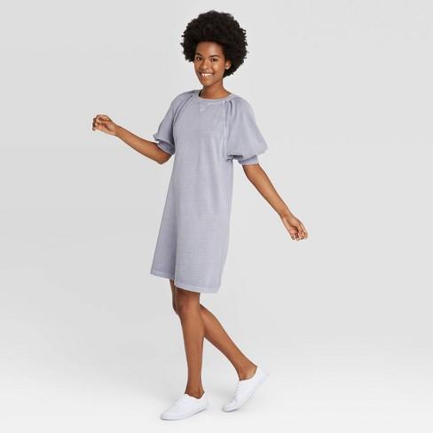 Women's Puff Short Sleeve T-Shirt Dress - Universal Thread™ Blue L