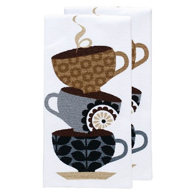 Tan Print Coffee Cups Kitchen Towel (16 x26 )T-Fal