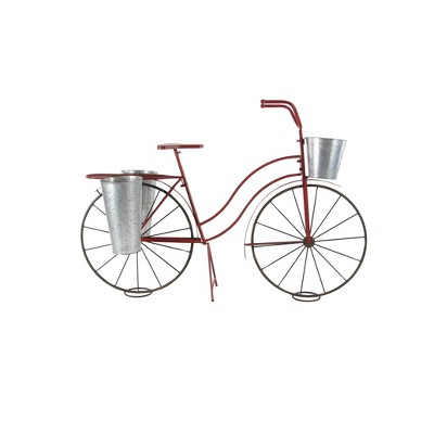 "38"" Rustic Tin and Steel Tricycle Plant Stand Brick Red - Olivia & May"