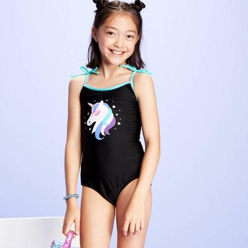 Girls' Unicorn Print One Piece Swimsuit - More Than Magic™ Black - image 1 of 3