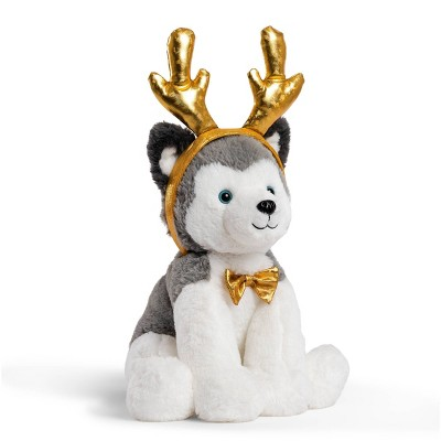 """FAO Schwarz Cheers 4 Antlers Husky 12"""" Stuffed Animal with Removable Wear-and-Share Ears"""