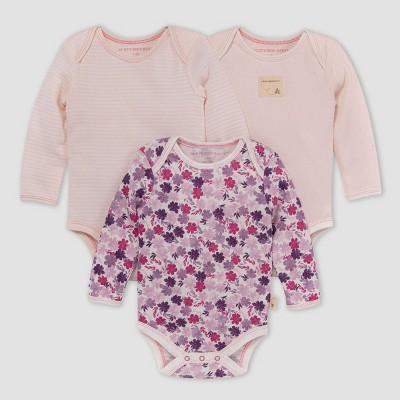 Burt's Bees Baby® Baby Girls' 3pk Ditsy Museum Garden Bodysuit - Light Pink 0-3M