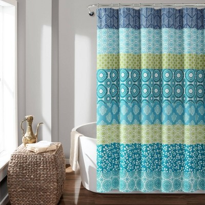 Bohemian Stripe Shower Curtain Blue/Green - Lush Décor