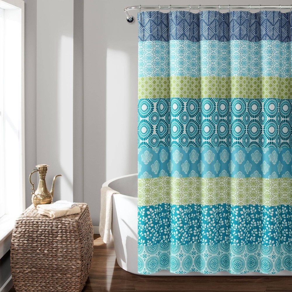 "Image of ""72""""X72"""" Bohemian Stripe Shower Curtain Blue/Green - Lush Decor"""