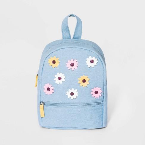 Girls' Denim Mini Backpack - Cat & Jack™ Blue - image 1 of 2