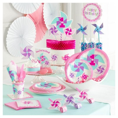 Baby's First Birthday Pink Pinwheels Party Supplies Collection