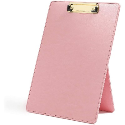Paper Junkie Pink Hardboard Standing Easel Clipboard with Foldable Stand Document Holder 9 x 13 In