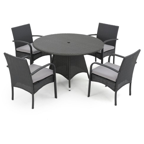 5pc Theodore Round All-Weather Wicker Patio Dining Set - Christopher Knight Home - image 1 of 4