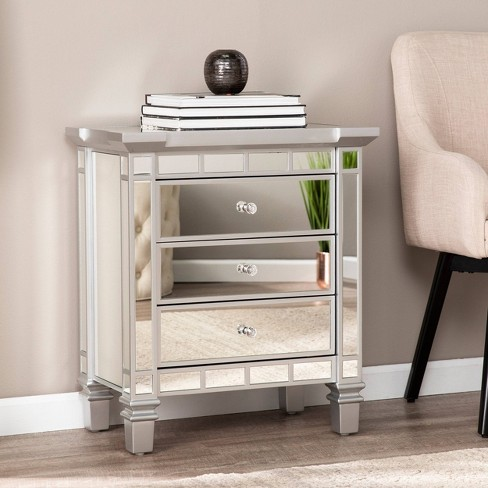 Lompton Mirrored 3 Drawer Accent Chest Silver - Aiden Lane - image 1 of 4