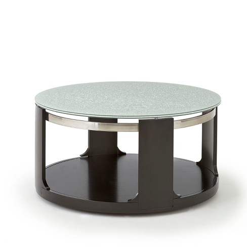 Croften Cracked Glass Cocktail Table With Casters Merlot Steve