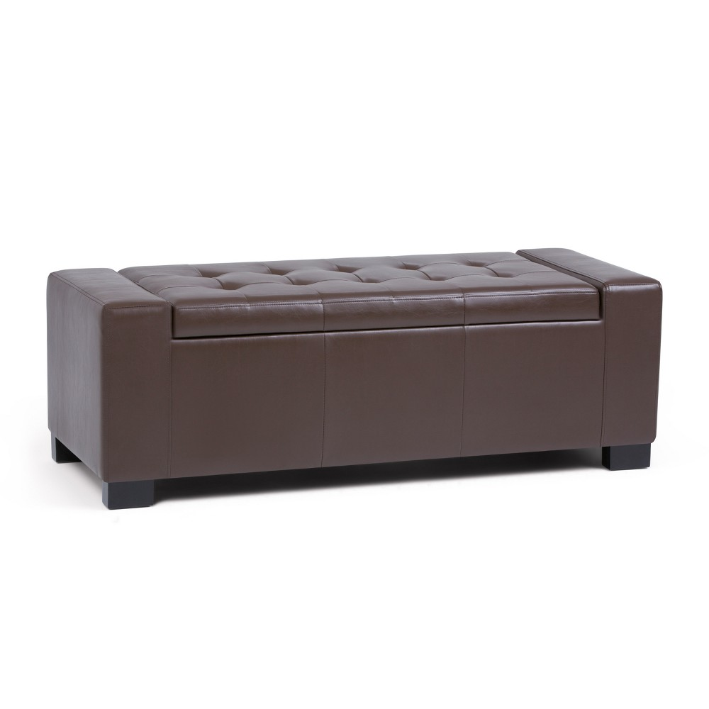 Santa Fe Large Storage Ottoman Chocolate Brown Faux Leather - Wyndenhall