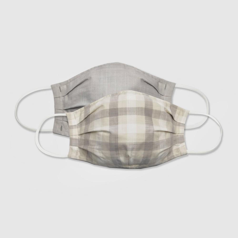 Women 39 S 2pk Fabric Face Masks Universal Thread 8482 Gray Check Solid L Xl