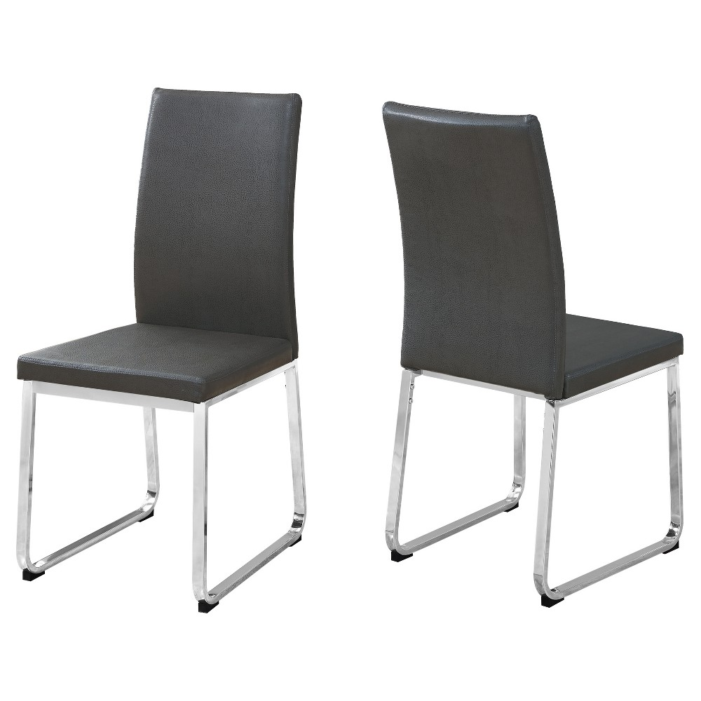 Image of 2pc Dining Chair Leather Chrome/Gray - EveryRoom