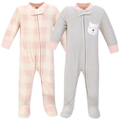 Hudson Baby Infant Girl Fleece Zipper Sleep and Play 2pk, Girl Baby Bear