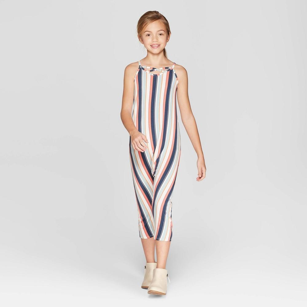 Girls' Slouchy Knit Jumpsuit - art class Blue XS