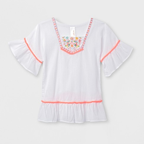 e4a0307a5a7 Toddler Girls  Kimono Sleeve Cover-Up - Cat   Jack™ White   Target